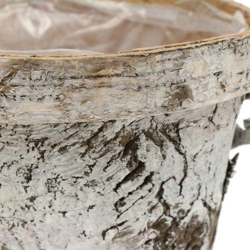 Berkenpot met rand medium Ø16cm H13cm wit