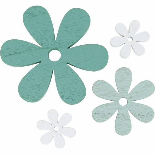 Strooi decoratie bloesem groen, mint, wit hout bloemen om te strooien 29st