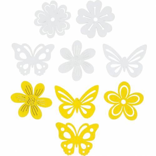 Bloemen en vlinders om te strooien geel, wit houten strooi decoratie 72st