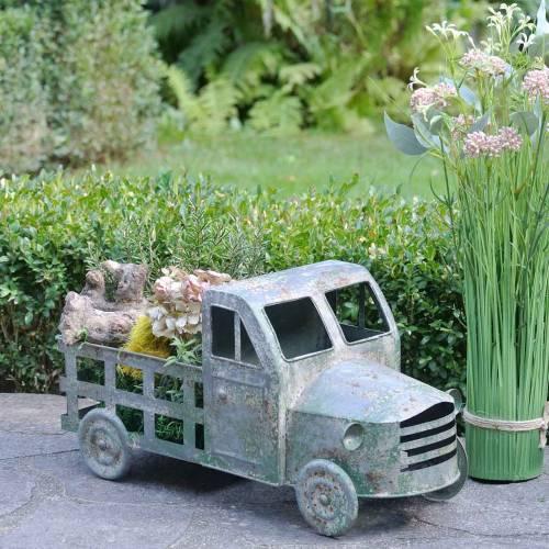 Bloempot vrachtwagen zinkgrijs, groen 42 × 17,5 × 19,5cm