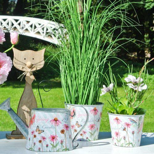 Bloempot metalen Echinacea lentedecoratie plantenbak Ø13.5cm H11.5cm
