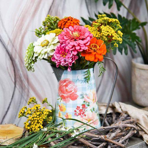Bloemenvaas deco kan metaal vintage tuindecoratie plantenbak H23cm