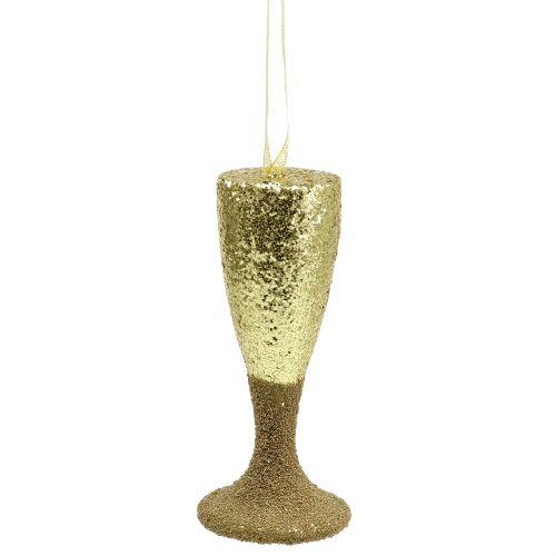 Hanger champagne glas licht goud glitter 15cm Oudejaarsavond en Kerst