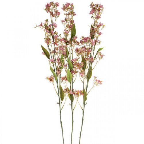 Siertak met bloemen kunstroze Daphne tak 110cm 3st
