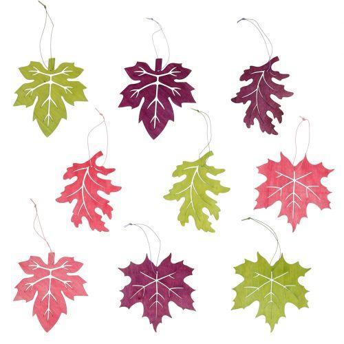 Decoratieve bladeren gemaakt van hout om op te hangen gekleurd 12cm 9st