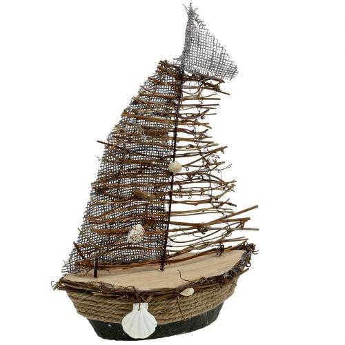 Decoratieve boot met takken en schelpen 38cm