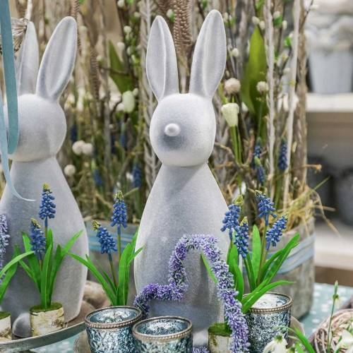 Decoratief konijn grijs gevlokt 47cm Paashaas decoratie Pasen