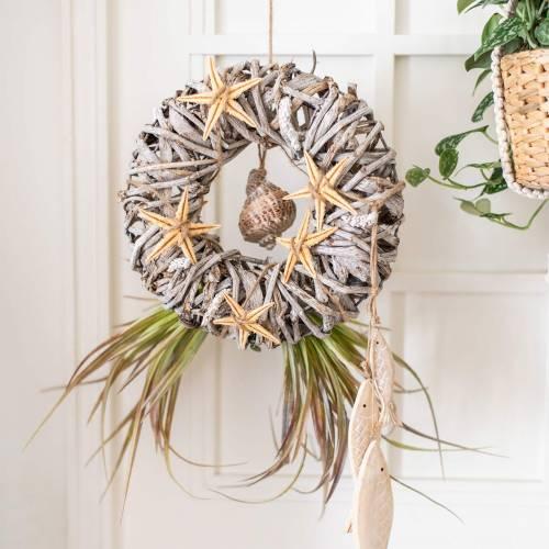 Decoratieve krans liaan hout wit gewassen Ø30cm
