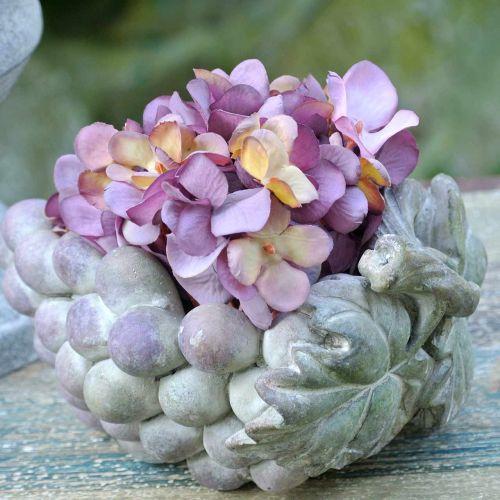 Decoratieve schaal druiven grijs paars creme 19 × 14cm H9,5cm