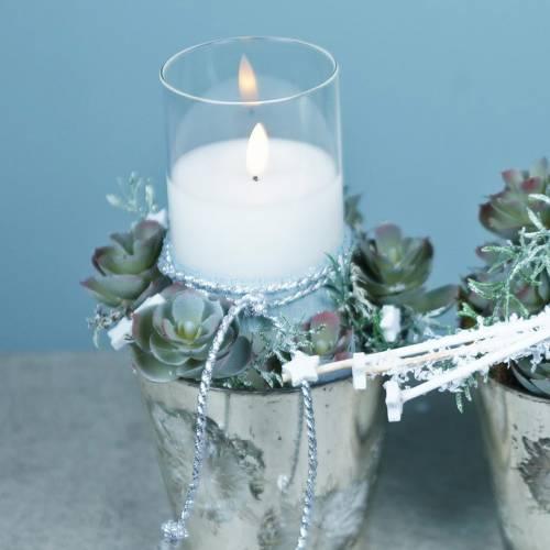 Decoratieve windlicht LED kaars in een glas gemaakt van echte was Ø10cm H10cm