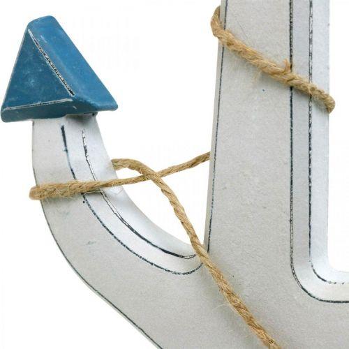 Decoratief anker hout wit, blauw Houten anker om op te hangen 23cm