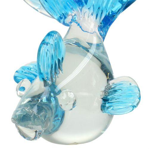 Decoratieve vis gemaakt van helder glas, blauw 15 cm