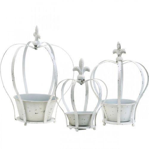 Decoratieve kroon wit shabby chic metalen tuindecoratie set van 3