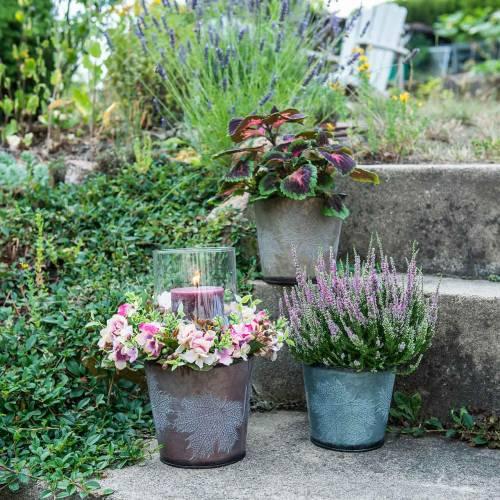 Decoratieve pot met bladeren zink metallic grijs, oranje, bruin Ø17cm H14.5cm 3st