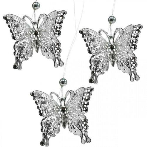 Decoratieve hanger vlinder, huwelijksdecoratie, metalen vlinder, veer 6st