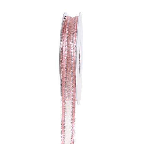 Decoratief lint roze met lurex strepen in zilver 15 mm 20 m