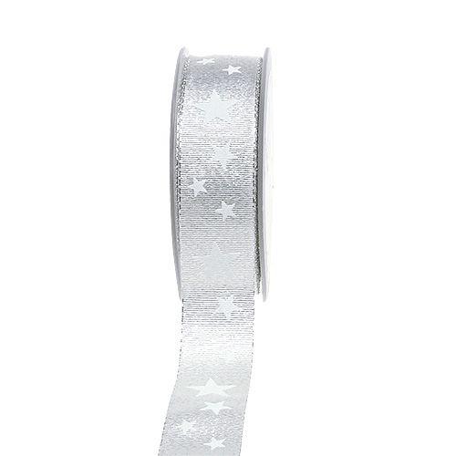 Decoratief lint zilver met sterpatroon 25mm 20m