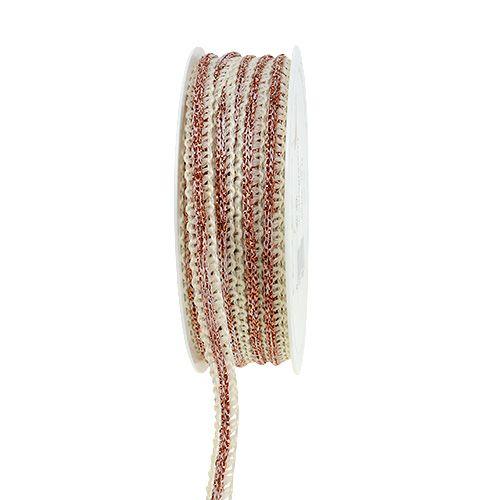 Decoratief lint smal creme met draad 8 mm 15 m