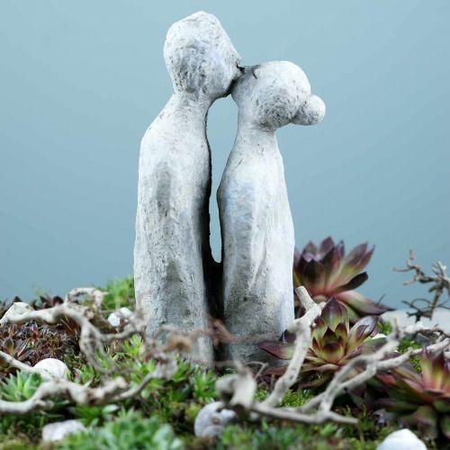 Decoratief figuur kussend paar in steen gegoten grijs 10 × 8cm H28cm
