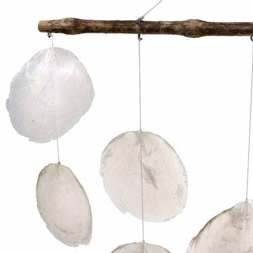 Maritieme decoratie hanger schelp windgong op drijfhout tak L65cm