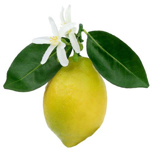 Decoratief fruit, citroenen met bladeren geel 9,5 cm 4 stks