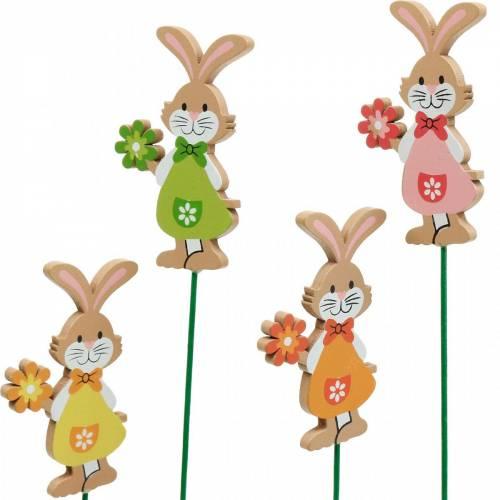 Decoratieve plug paashaas met bloem paasdecoratie houten konijntjes op stokje 24st