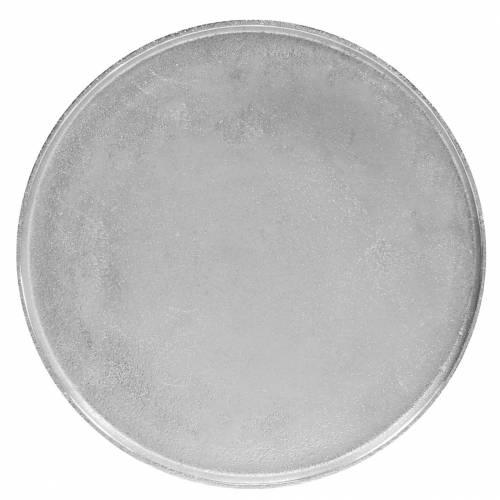 Decoratief bord klei Ø31cm zilver