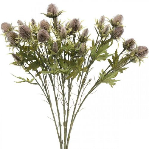Distel paarse kunsttak 10 bloemhoofdjes 68cm 3st