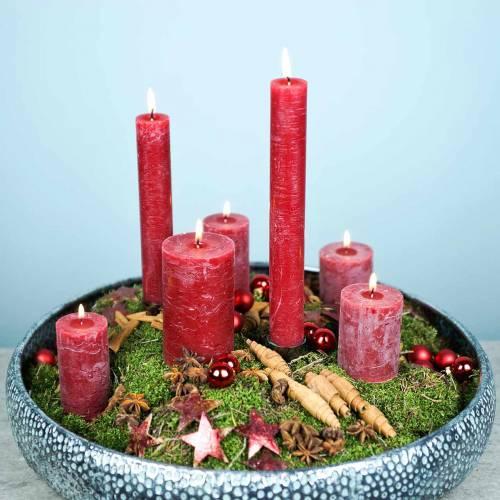 Effen gekleurde kaarsen donkerrood verschillende maten