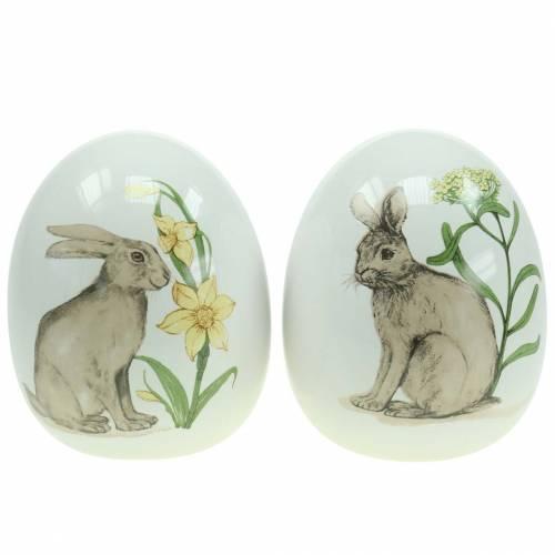 Eierkeramiek wit met konijnenmotief Ø12,5cm H16cm 2st