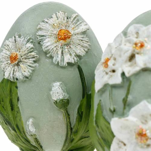 Paaseieren met bloemmotief madeliefjes en narcissen blauw, groen gips assorti 2st