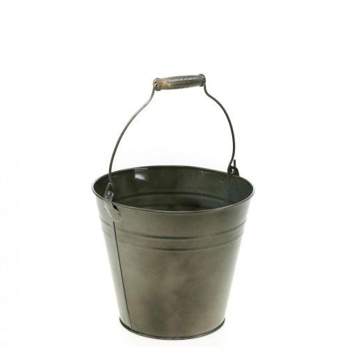 Decoratieve emmer met handvat, tuindecoratie, plantenpot, metalen vat Ø16.5cm H15cm