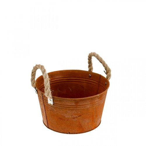 Metalen pot met touwgrepen, plantenbak, herfst, patina Ø22cm H12cm