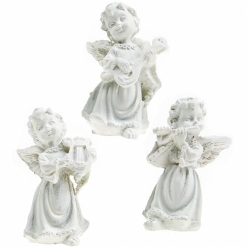 Decoratieve engel met instrumenten wit H4,5cm 9st