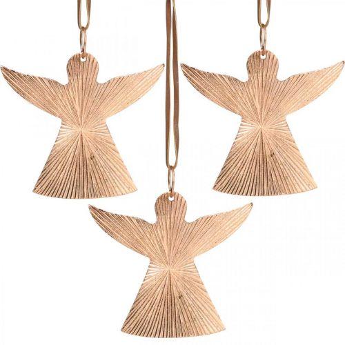 Engelen om op te hangen, Adventsdecoraties, metalen decoraties koperkleurig 9 × 10cm 3st
