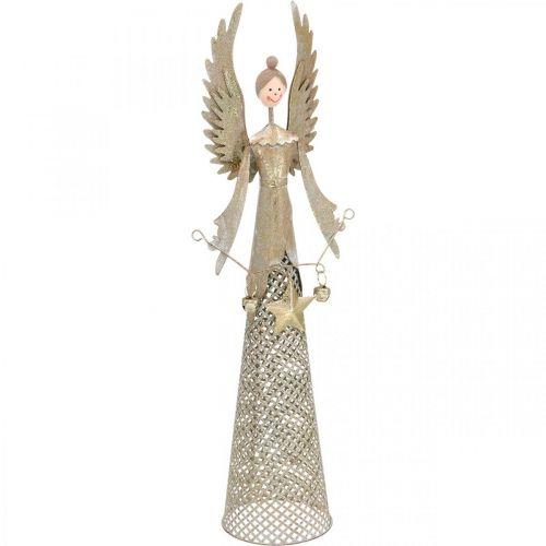 Decoratief engelenfiguur met guirlande kerstmetaal 13 × 8.5cm H40cm