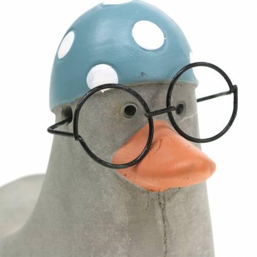 Decoratieve eend met bril en badmuts grijs 10,5cm 4st