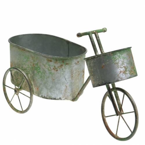 Bloempot fiets zinkgrijs, groen 40 × 14 × 21cm