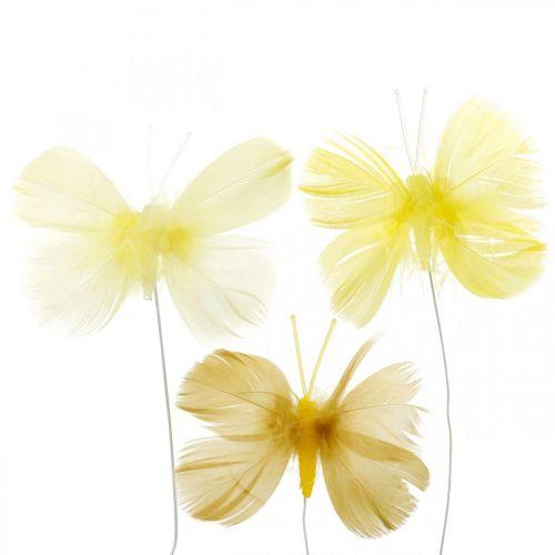 Decoratieve vlinders op draad, lenteversieringen, veervlinders in de kleuren geel 6st