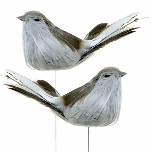 Veer vogel op draad grijs 12cm 4st