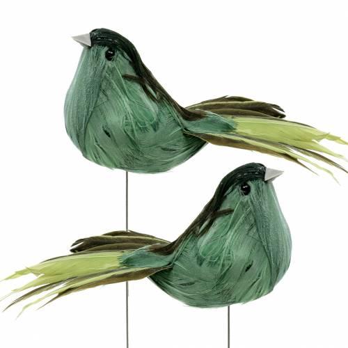 Veer vogel op draad groen 12cm 4st