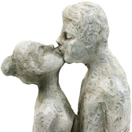 Decoratief figuur kussend paar in steen gegoten 40cm