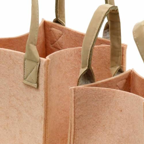 Vilten plantenbak roze vilten tas met handvatten vilten decoratie set van 2