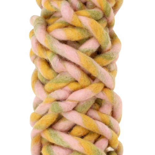 Vilt koord 25m roze, geel, groen