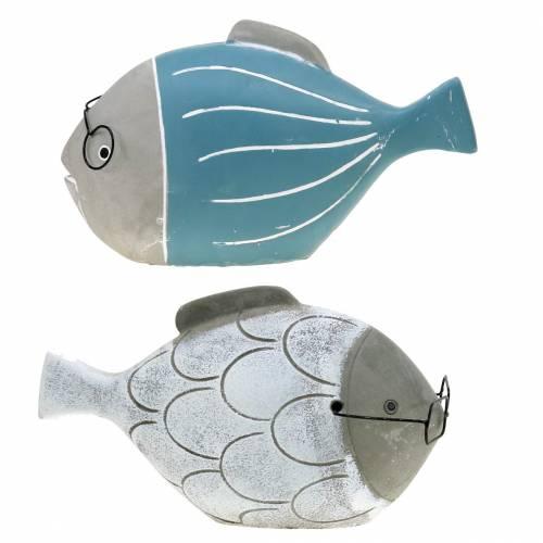 Decoratieve vis met bril blauw wit 15,5 / 14,5cm 2st