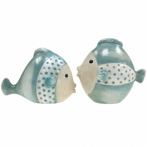 Decoratieve vis terracotta blauw, grijs H14cm / 12.5cm set van 2