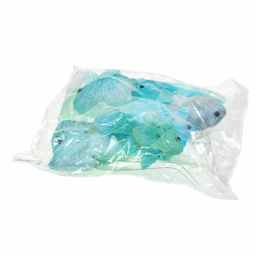 Decoratieve vis om op te hangen blauw turkoois groen grijs 10-22cm 5st