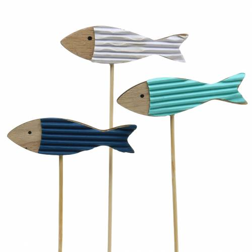 Decoratieve plug vis hout turkoois blauw wit 8cm H31cm 24p