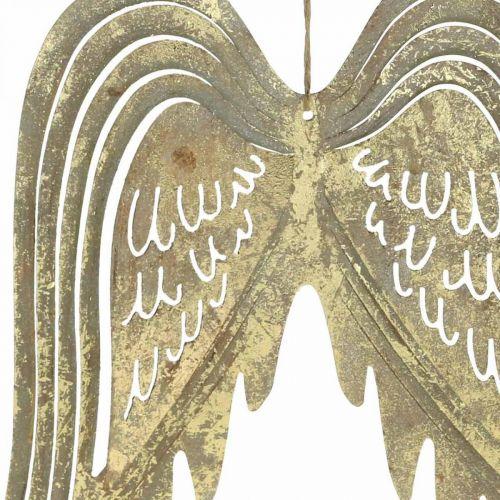 Kerstdecoratie engelenvleugels, metalen decoratie, vleugels om op te hangen gouden, antieke look H29.5cm B28.5cm