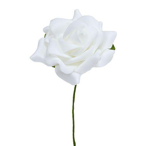 Foam-Rose Ø 7,5 cm wit 18st